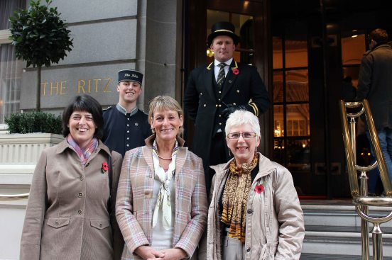 Rosemary with her guest and the legendary Mary King outside the Ritz Hotel in London