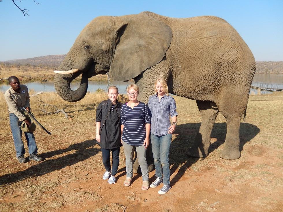 Catherine, Ruth and Alison on an elephant safari small