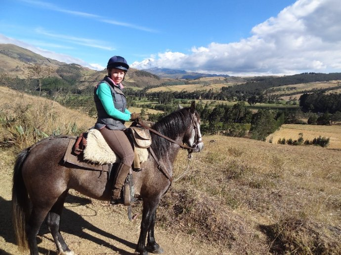 Abbie and Rebeldia with the Cayambe Volcano in the backdrop