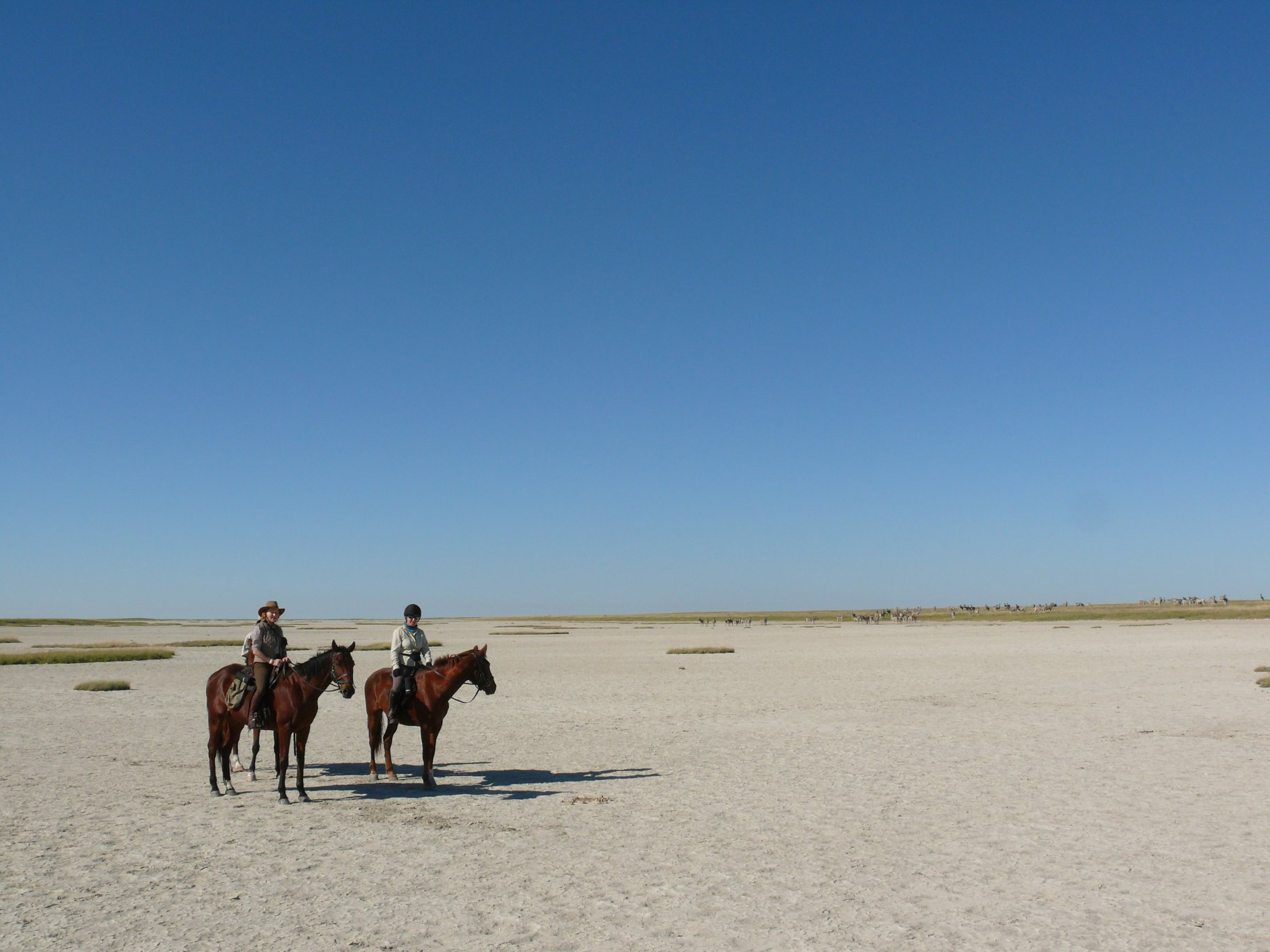 Cathy at Makgadikgadi Pans with zebra on the horizon